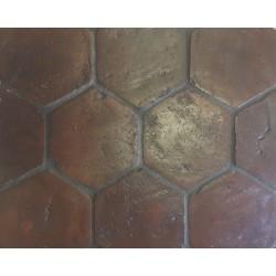 Close up of Handmade Hexagon Terracotta.