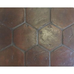 Close up of Handmade Hexagon Terracotta.